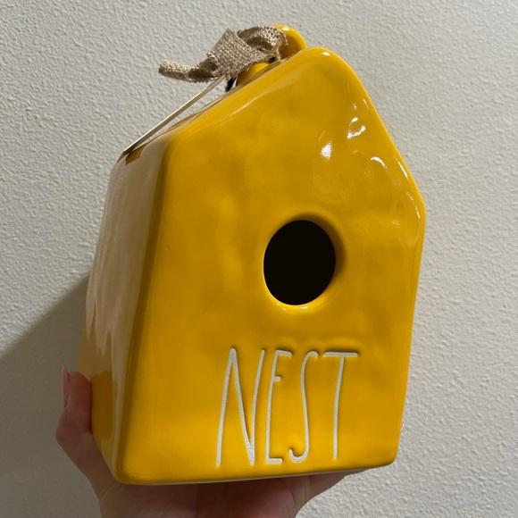 Rae Dunn NEST yellow birdhouse